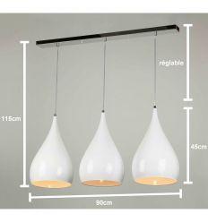 Suspension 3 lampes tarbes eglo 94195 cuivre luminaire for Suspension luminaire triple