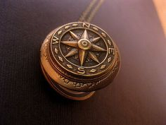Compass Locket Necklace SteamPunk Necklace by FashionCrashJewelry
