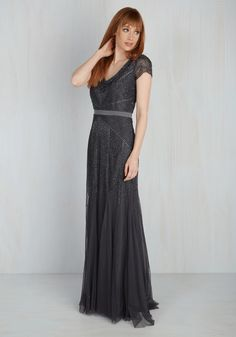 Style Your Thunder Dress. Attendees at the fundraiser will feel the resounding rumble of your ravishing style in this charcoal gown! #black #modcloth