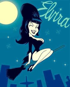Elvira on the bewitched broom
