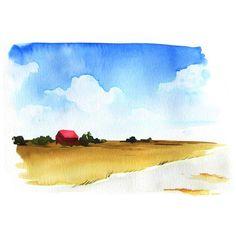 Watercolor Barns, Watercolor Kit, Watercolor Painting Techniques, Watercolor Sunflower, Watercolor Landscape Paintings, Watercolor Paintings Abstract, Watercolor Trees, Watercolor Artists, Abstract Landscape