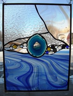 Gorgeous Zen Stained Glass Panel with Agate by thunderwillow, $75.00