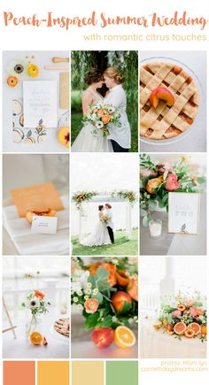 Playful Peach + Citrus Summer Wedding Ideas Playful Peach + Citrus Summer Wedding Color scheme and theme Ideas: A citrus-inspired wedding palette of orange, apricot, white and yellow is married with flowing greenery and. Summer Wedding Colors, Spring Wedding, Summer Colours, Summer Weddings, Destination Weddings, Green Wedding, Wedding Flowers, Summer Flower Arrangements, Wedding Inspiration