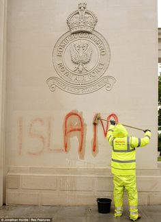 Clean-up operation begins at war memorials defaced with Islamic slogans after veterans' charity foots the bill.
