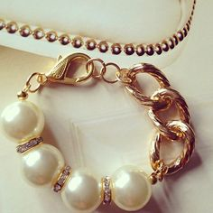 Coco Chunky Pearl and crystal Bracelet by tarocollection on Etsy, $28.00