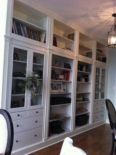 IKEA bookshelves into amazing wall unit