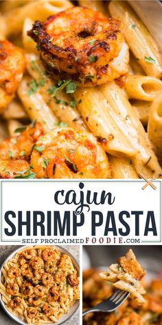 Cajun Shrimp Pasta with a spicy and rich cream sauce is a quick and easy dinner recipe with just the right amount of kick! Cajun Shrimp Pasta with a spicy and rich cream sauce is a quick and easy dinner recipe with just the right amount of kick! Shrimp Recipes For Dinner, Best Seafood Recipes, Shrimp Recipes Easy, Easy Dinner Recipes, Beef Recipes, Healthy Recipes, Meals With Shrimp, Shrimp Recipes Crockpot, Recipes With Cooked Shrimp