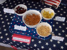 "President Inspired Food - George Washington cherries, Abraham Lincoln ""Lincoln Logs"", Jimmy Carter Peanuts & George Bush Lone Stars (starfruit)"