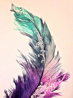 Feather painting print by Siparia on Etsy