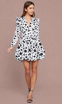 3e7975863c9a Black and White Polka Dot Long Sleeve Mini Dress Women's - Amazing black  and white polka-dot cotton dress with long sleeve puff shoulders and a  stretch ...