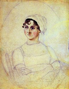 Jane Austen's portrait drawn by her sister Cassandra Austen. This is the only likeness drawn from life -- all other portraits of the author derive from this drawing.