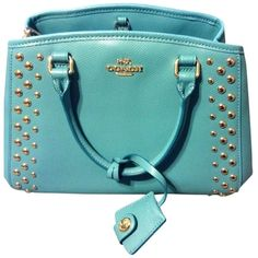 Pre-owned Coach Studded Mini Style Number 9h00112666 Cadet Blue Cross... ($231) ❤ liked on Polyvore featuring bags, handbags, shoulder bags, cadet blue, studded crossbody, crossbody handbags, blue handbags, crossbody purse and coach shoulder bag