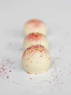 konfekt / confectionary for christmas with marzipan, lemon, raspberry, and white chocolate.