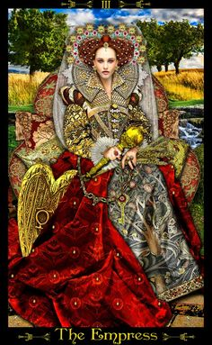 The Tarot card is The Empress. 3 symbolizes the principles of growth.: KEY WORDS: Fertility, femininity, beauty, nature, abundance.