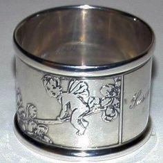 Tiffany Sterling Silver Napkin Ring w Fairies - Stunning