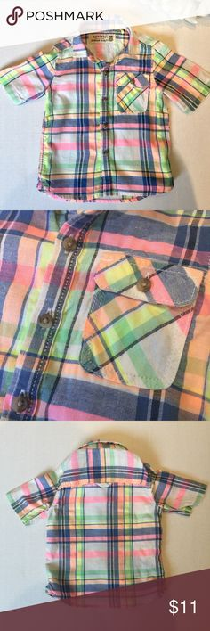 Next U.K. short sleeve Plaid shirt 12-18m Casual cool boys summer short sleeve shirt in bright Plaid design. From Next in England. Size 12-18 months in excellent condition from pet free, smoke free home Shirts & Tops Button Down Shirts