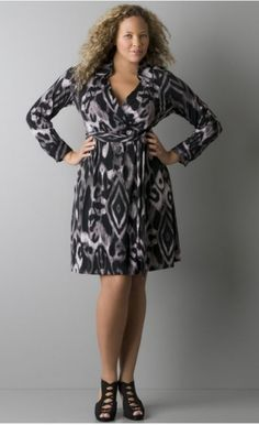 This is a great dress that shows personality without being too over the top. The shoes are not a good look for the office, something more conservative with a closed-toe would work better. Dress from Lane Bryant