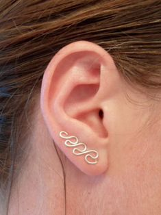 Swirl Earring, Argentium Sterling Silver. SINGLE. Can be worn as ear sweep or dangle. Hypoallergenic.