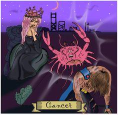 Cancer, Signos del Zodiaco, dibujo, ilustración