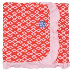Print Ruffle Stroller Blanket in Poppy Geo Lattice - Kickee Pants