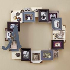 36 Creative and Inspiring Wooden Picture Frame Decorating Ideas - DecoRelated Picture Frame Crafts, Collage Picture Frames, Wooden Picture Frames, Frames On Wall, Picture Frame Wreath, Collage Ideas, Family Collage Frame, Round Picture Frames, Hanging Picture Frames