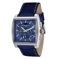 The #JorgGray JG5200-12 Men's #Watch is cut Solid stainless steel silver finish and features a Blue dial, Blue crocodile leather strap with white stitches, High precision Japanese chronograph, scratch-resistant mineral crystal, and is water resistant to 30 meters.