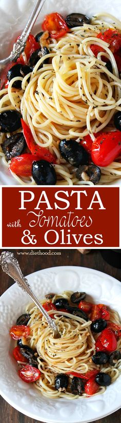 Pasta with Tomatoes, Olives and Garlic - A delicious pasta dish made with spaghetti tossed in a buttery garlic sauce with tomatoes and black olives.