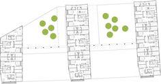 Conj. Habitacional (ACXT Arquitectos) *destaque área social de um lado ao outro e solução de cozinha e banheiros em bloco no centro da unidade nas unidades de baixo.