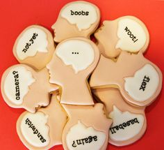 brain thought bubbles Cookie Jars, Cookie Cutters, Thought Bubbles, Belly Laughs, Inspiring Things, Best Cookie Recipes, Cookie Designs, Sweet Sweet, Decorated Cookies
