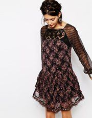 Free People Elsie Dress in Floral with Sequins