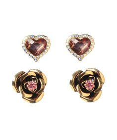Heart and Rose Studs By Bestey Johnson