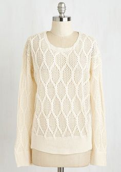 Hold Me Cozy Sweater - Mid-length, Sheer, Knit, White, Casual, Long Sleeve, Good, Scoop