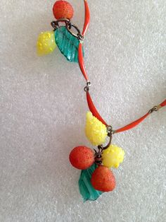 Hand made glass fruits and leaves charms - Carmen Miranda style. Old enamel beautiful chain. Because of a few I have to make it harder for many – and for this I am truly sorry. | eBay!