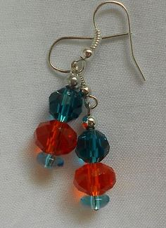 Handmade Earrings Orange Faceted Crystal with Blue Zircin Faceted Crystal Beads by Ivybeehive  2013 Sold