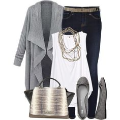 Cozy gray Waved Lapel Cardigan with white blouse and dark blue jeans. Cute shoes and accessories.