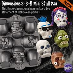 Wilton's 3-D Mini Skull Cake Pan makes a big statement at Halloween parties!