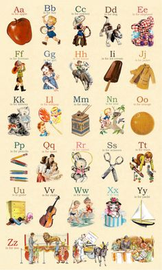 Vintage Alphabet Poster - Red Wagon