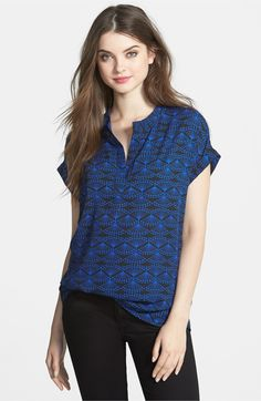 Main Image - Pleione Split Neck Print Blouse (Regular & Petite)