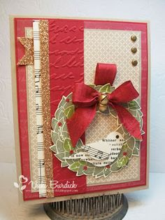 Stampin' Up! stamp set Wonderful Wreath, Pretty Print embossing folder, bird punch; It's a Stamp Thing: Sweet Sunday......Christmas Wreath