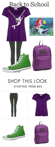 """""""The little Mermaid -Back to school"""" by uandme123456 ❤ liked on Polyvore featuring J Brand, American Vintage, Converse and JanSport"""