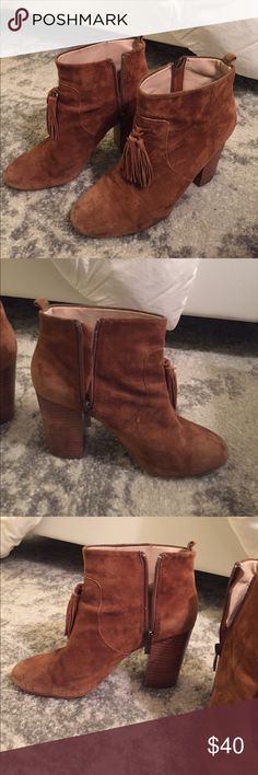 French connection size 7 suede heeled booties These brown super cute booties are slightly worn (as you can see some discoloration and wear inside). They are, however, in great condition, extremely soft and on a huge discount. French Connection Shoes Ankle Boots & Booties