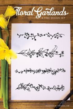 FREE Floral Garlands - Designs By Miss Mandee. Use these hand drawn graphics to give your next design a cute, spring look. Great for Mother's Day cards and wedding stationary!