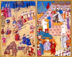 "Musicians in front of the Sultan At court and parties of any kind, there was no lack of musical performances. In this performance, the musicians playing on tambourines, flutes, long-necked lutes, violins and spit panpipes. Before the orchestra is a ""çagana"" players. Levni, Ottoman miniature painting, from the ""Surname-ı Vehbi"" (fol. 57b-58 °)."