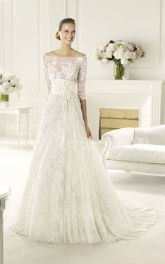 Glamorous Off-shoulder Half Sleeve Lace-appliqued Wedding Dress With Empire Waist
