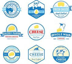 Set of cheese label templates. Cheese labels with sample text. Label Design, Graphic Design, Cheese Design, Japan Package, Cheese Tasting, Label Templates, I Icon, Typography, Packaging