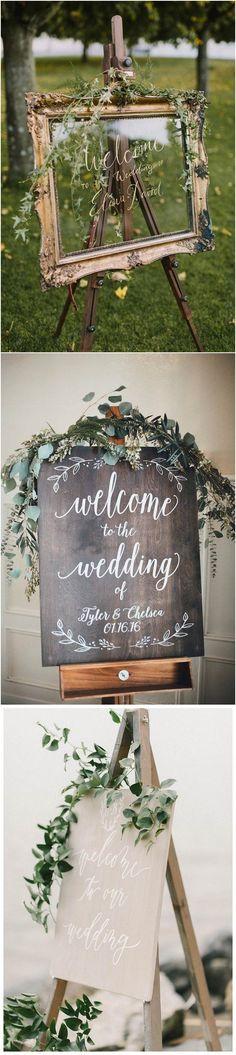 elegant greenery outdoor wedding sign ideas