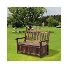 Outdoor Storage Bench Wooden Park Seat Outdoors Box Porch Cabinet Vintage Brown