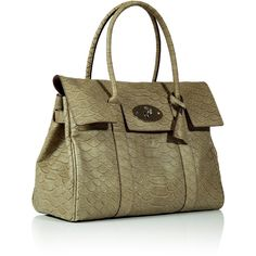 MULBERRY Summer Khaki Snake Print Leather Bayswater Bag ($1,116) ❤ liked on Polyvore featuring bags, handbags, purses, mulberry handbags, snakeskin handbag, leather purse, summer purses and leather handbags