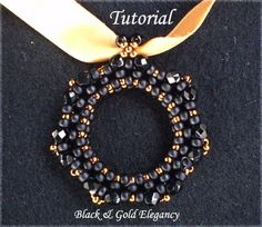 TUTORIAL Elegant Black Pendant - Bead pattern
