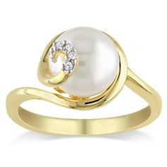 Yellow Gold Plated Sterling Silver 9.0-9.5 mm Freshwater Cultured Pearl and Diamond Ring (0.02 cttw, G-H Color, I2-I3 Clarity) -                             $55.99